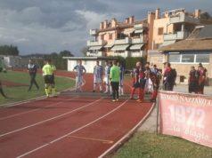 Biagio Nazzaro Chiaravalle e Vigor Castelfidardo all'ingresso in campo
