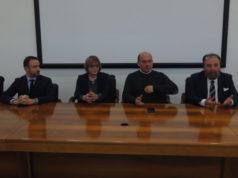 Da sinistra: il sindaco di Montecassiano Leonardo Catena, di Montefano Angela Barbieri, di Osimo Simone Pugnaloni e Fabio Marchetti, amministratore delegato di Astea