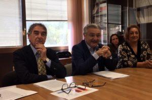 Giancarlo Marchetti, direttore generale di Arpa Marche e l'assessore regionale all'ambiente, Angelo Sciapichetti