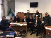 L'Avv. Canafoglia, Renzo Talacchia e alcuni dipendenti di Aerdorica durante l'incontro