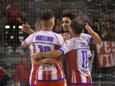 L'Italservice esulta dopo il gol di Marcelinho (Foto BAIONI)