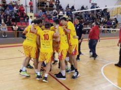 L'esultanza della Nef Volley Libertas Osimo a fine partita contro la Bontempi Casa Ancona