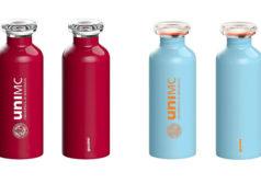 Le borracce realizzate per UniMC da Guzzini sono in acciaio e sono un vero e proprio oggetto di design, con packaging 100% riciclato e riciclabile