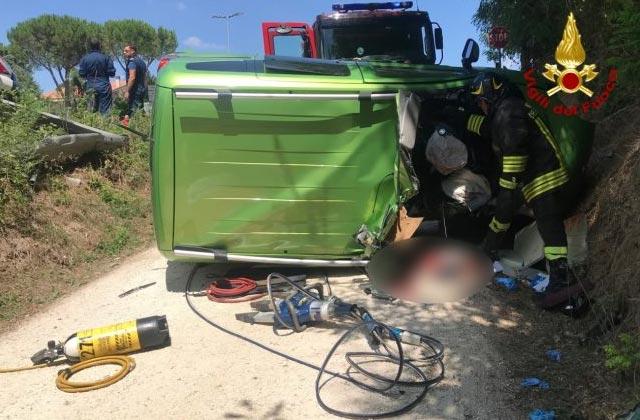 Il grave incidente stradale a Pollenza di Macerata del 30 luglio 2019 in cui morì un uomo di Ostra, Stefano Giancamilli