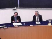 Il relatore Federico Varese e il rettore dell'Università di Urbino Vilberto Stocchi al convegno sulle mafie nelle Marche
