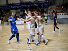 L'esultanza del Città di Falconara dopo un gol