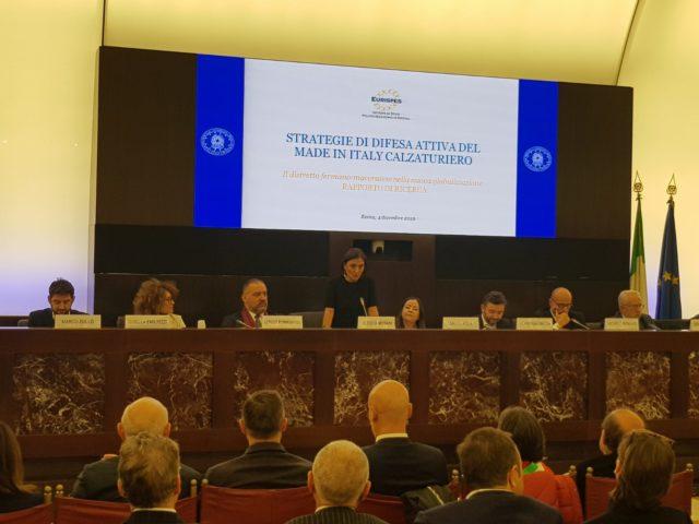 Un momento della presentazione a Roma dello studio Eurispes sul settore del calzaturiero