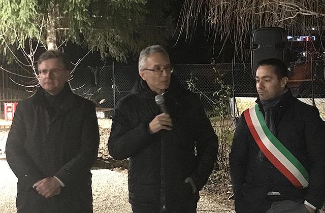 Luca Ceriscioli a Pieve Torina per la consegna di tre appartamenti riparati dopo il sisma 2016