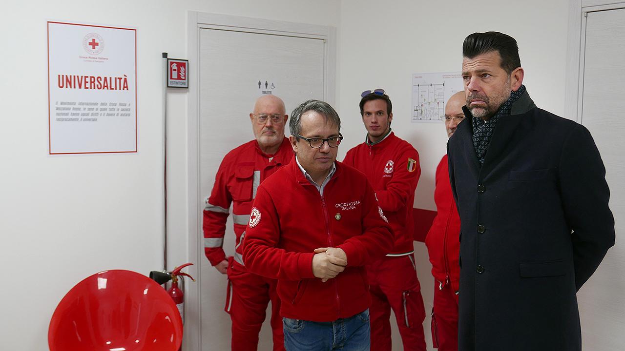Visita del sindaco Mangialardi alla nuova sede operativa della Croce Rossa di Senigallia