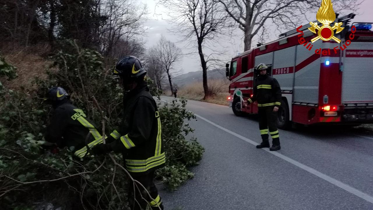 L'intervento dei Vigili del fuoco a Mergo