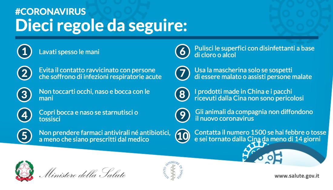 Il decalogo Coronavirus