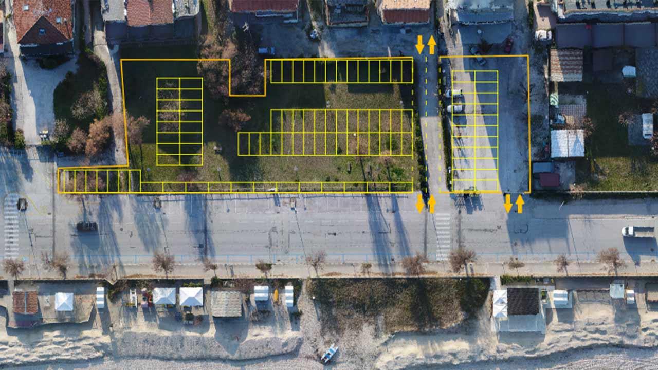 La mappa dei parcheggi nell'area dei giardini sul lungomare Da Vinci, a Senigallia, tra la pensione Lucia e il camping Verde Mare
