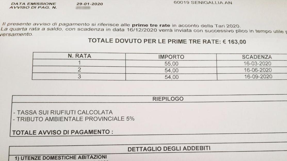 Lo schema per la tari (tassa rifiuti) 2020 spedito ai cittadini dal Comune di Senigallia