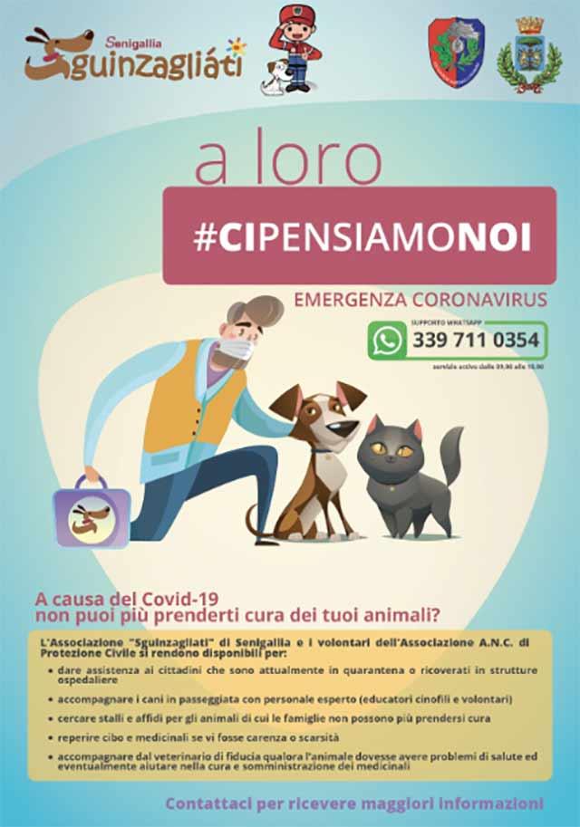 La locandina del servizio di cura per gatti e cani in periodo di quarantena