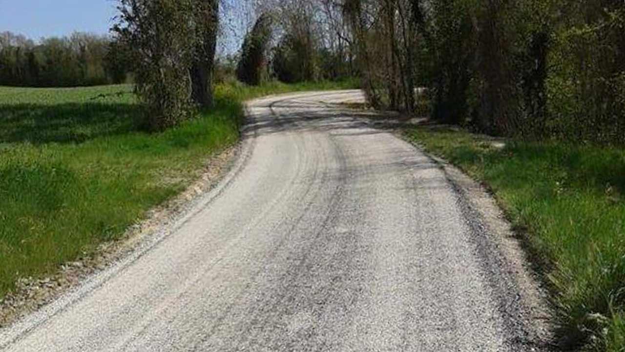 La strada in contrada Pioli, tra Ostra Vetere e Ostra