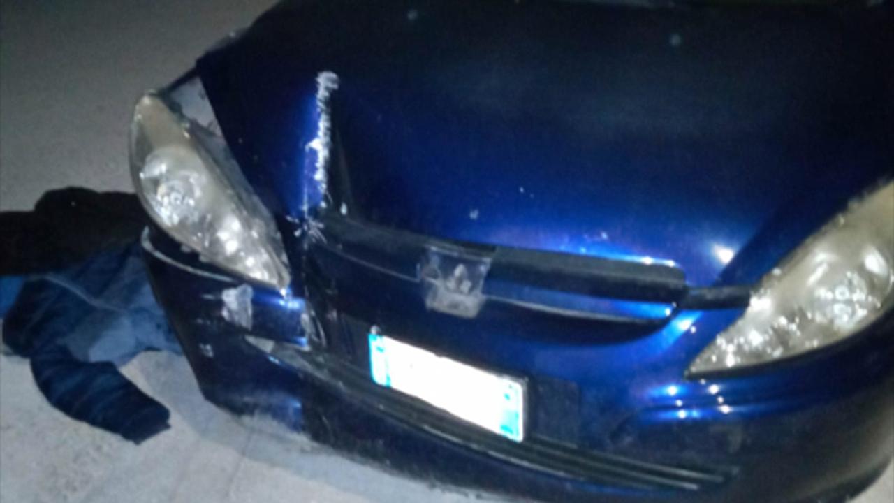 L'auto dopo l'incidente a Trecastelli