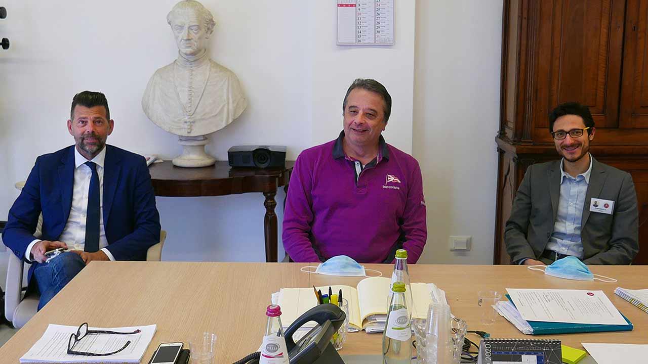 Da sinistra il sindaco di Senigallia Maurizio Mangialardi, il presidente della Fondazione Città di Senigallia Michelangelo Guzzonato e il direttore della struttura Francesco Costanzi