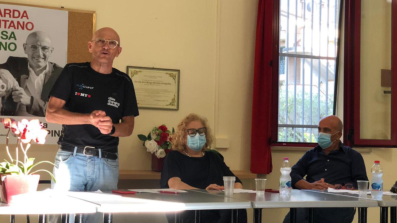 L'incontro dell'Unione comunale Pd di Senigallia: da sinistra Volpini, Allegrezza e Donatiello