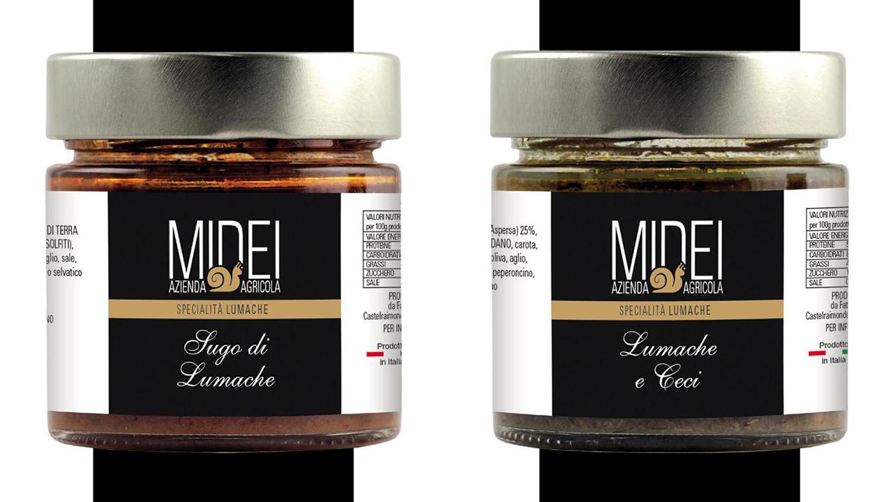 La linea di sughi e paté con lumache prodotti dall'azienda agricola Midei di Sefro (Mc)