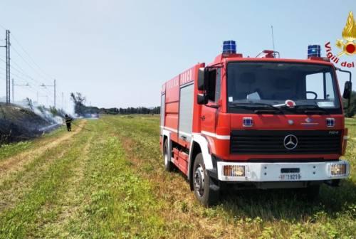 Osimo, sterpaglie a fuoco a ridosso dei binari: transito dei treni sospeso, pompieri al lavoro