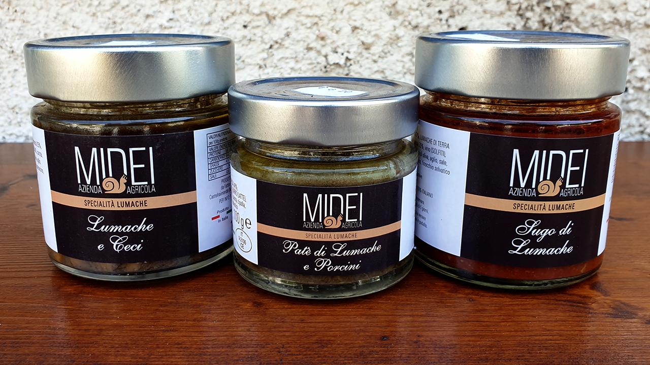 La linea di prodotti alimentari a base di lumache dell'azienda agricola Midei di Sefro