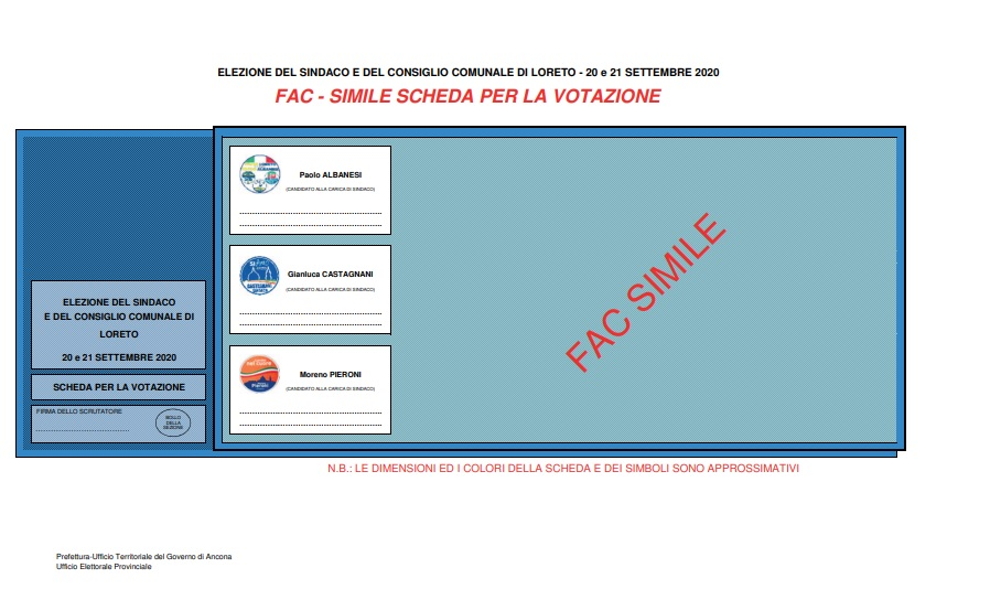 Fac simile della scheda elettorale (sito Prefettura)