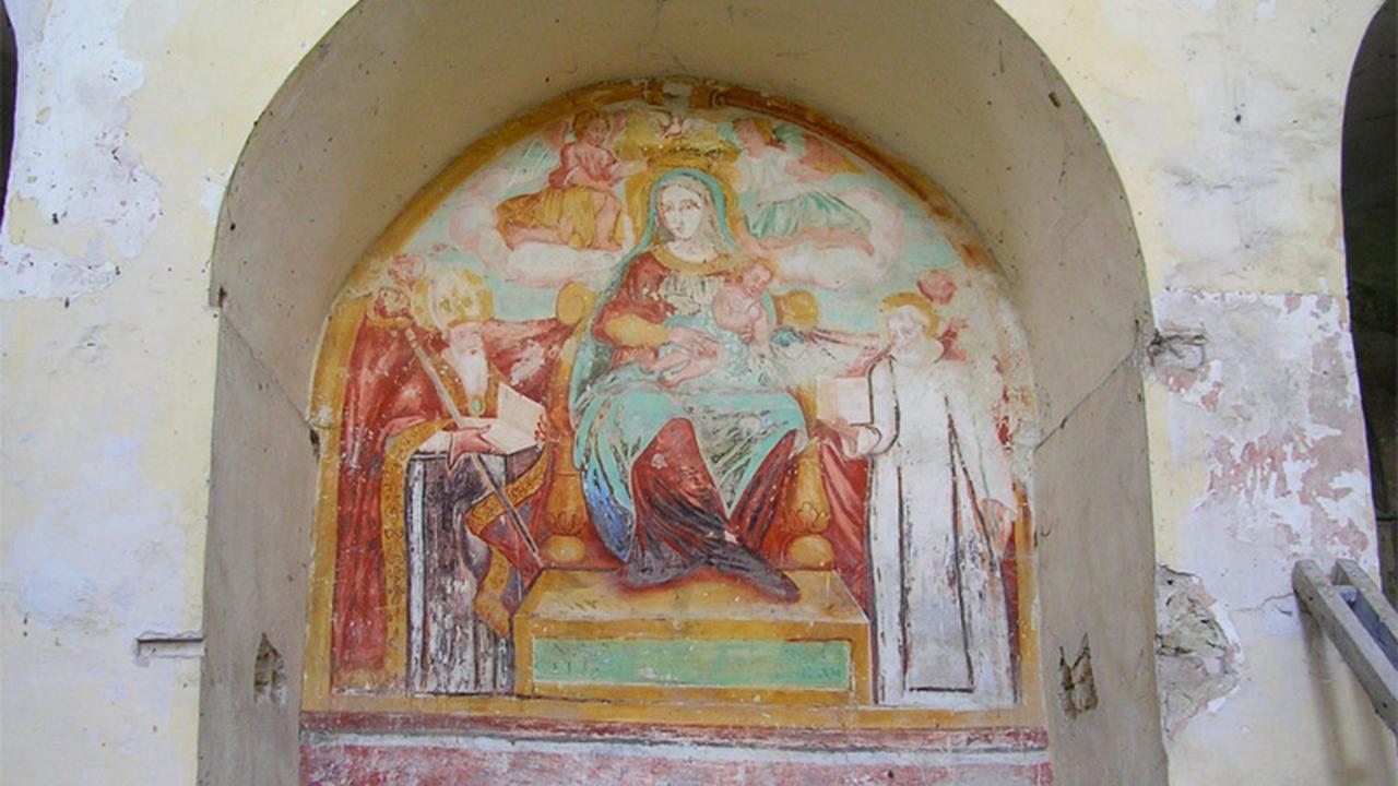 """L'affresco all'interno della chiesa di S. Maria delle Grazie o """"Madonna del Piano"""" a Serra de' Conti"""