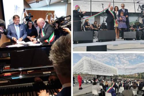 Bocelli inaugura la nuova Accademia della musica di Camerino: «Che i ragazzi trovino gioia e speranza grazie alla musica» – VIDEO