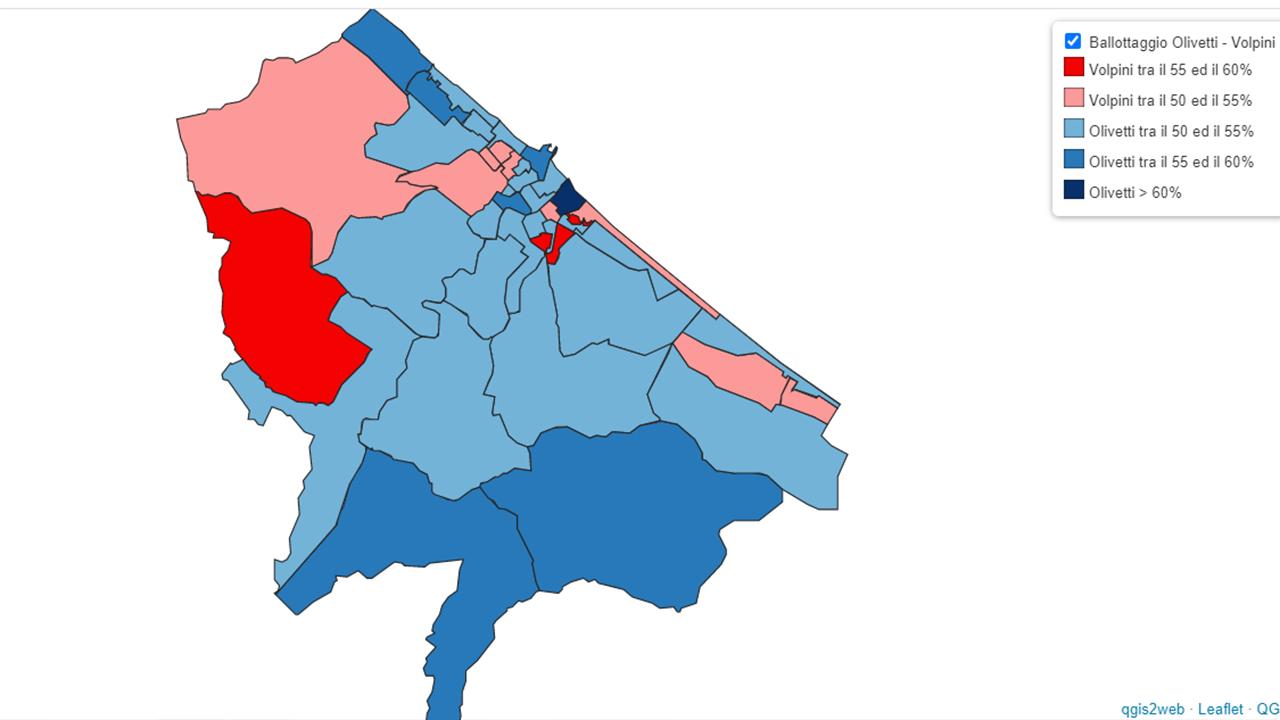 La mappa del voto al ballottaggio Olivetti-Volpini: in blu e azzurro le sezioni andate al centrodestra, in rosa e rosso quelle al centrosinistra