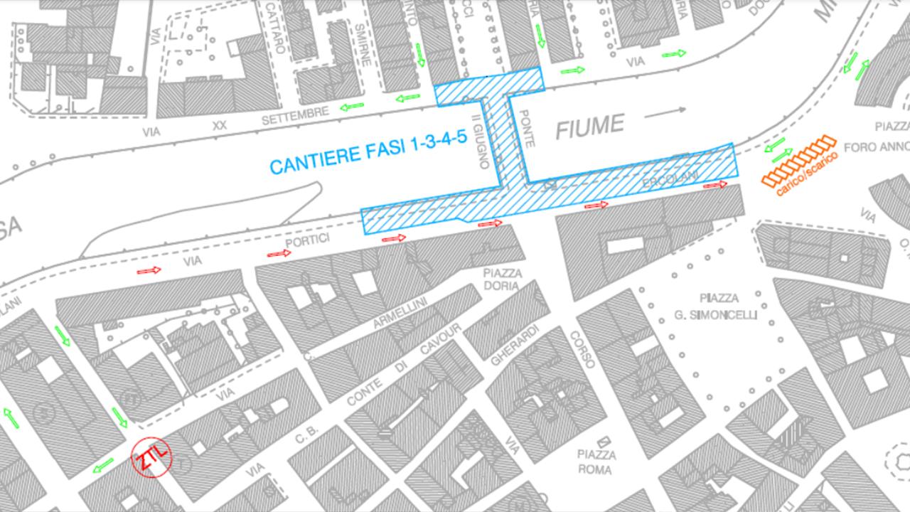 La mappa di alcune modifiche alla viabilità di Senigallia per i lavori su ponte II Giugno