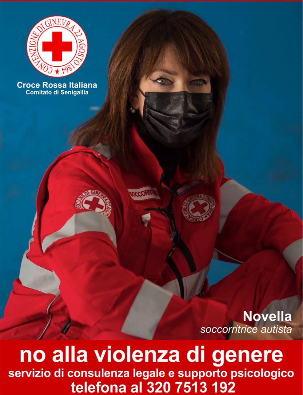 Il manifesto della Croce Rossa Italiana - Comitato di Senigallia contro la violenza sulle donne: attivato uno sportello antiviolenza