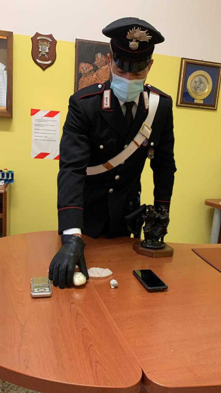 La cocaina sequestrata dai carabinieri