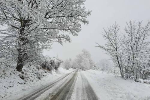 Prima neve nel pesarese: imbiancate Montecopiolo, Carpegna, Sant'Angelo in Vado e Piobbico – VIDEO e FOTO