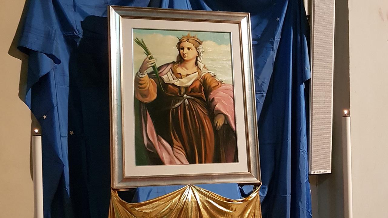 Il dipinto della santa Barbara realizzato dall'artista Piergiovanni Antici