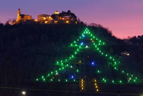 Castelbellino accende l'albero di Natale sulla collina, il più grande delle Marche