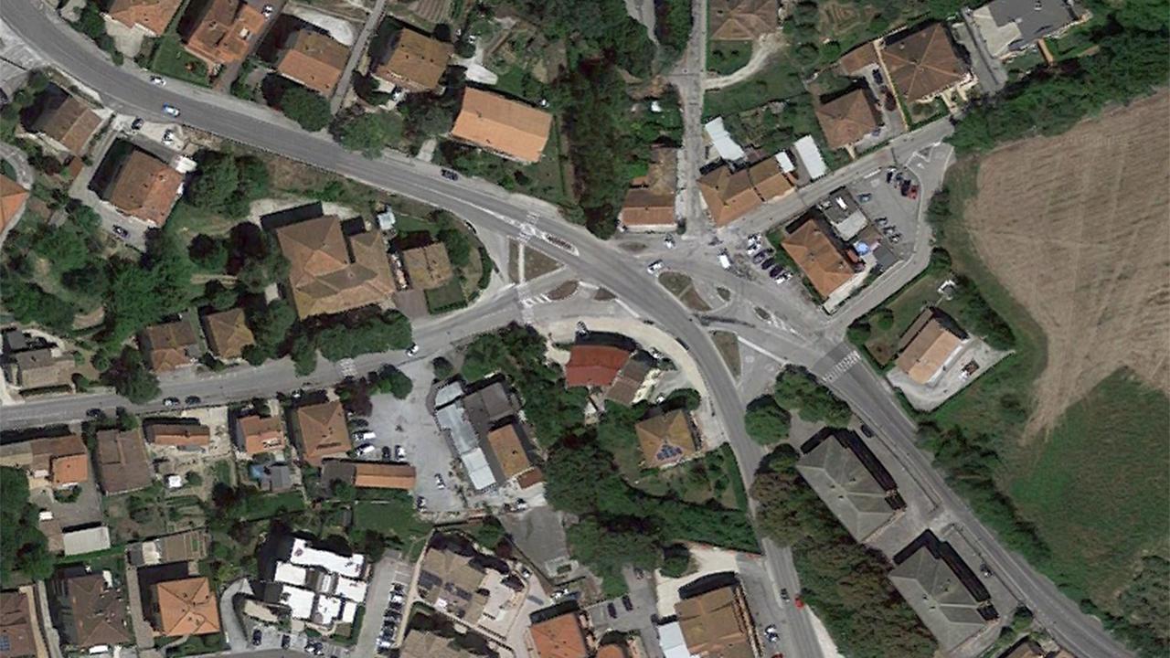 """La mappa degli incroci a Passo Ripe di Trecastelli lungo la strada provinciale 18 """"Jesi-Monterado"""""""