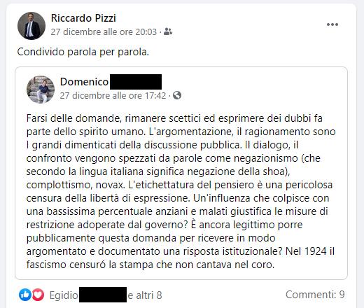 Il post condiviso dal vicesindaco Pizzi su covid e contagi