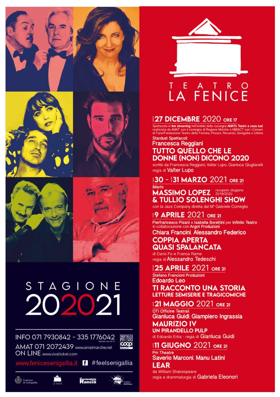 Il cartellone della stagione teatrale 2020-2021 del teatro La Fenice di Senigallia