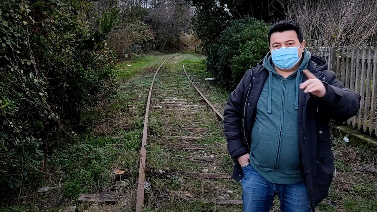 Lucarelli sul tratto della Ciclovia Ex ferrovia Fano-Urbino