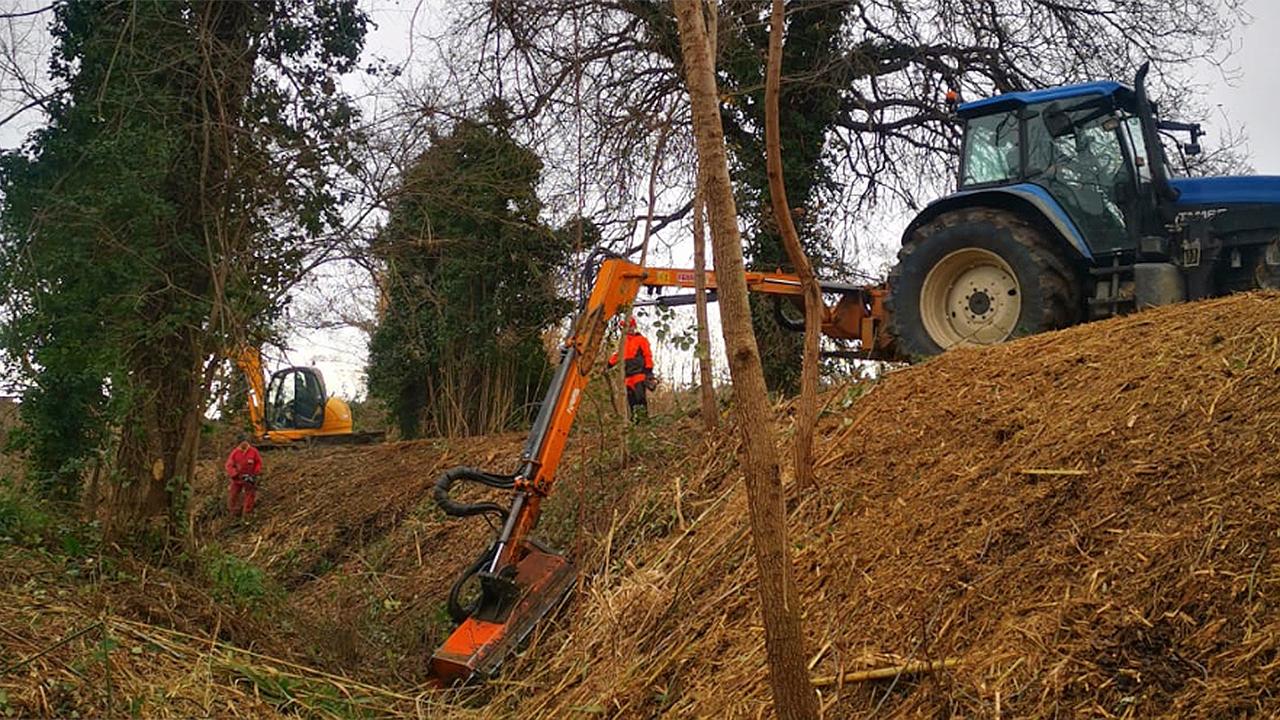 I lavori di manutenzione sul fiume Misa a Senigallia