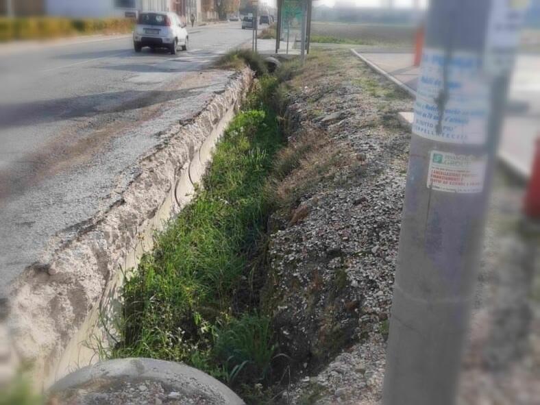 Uno dei tanti canali di scolo e fossi intasati da terreno, erbacce e rifiuti a Senigallia