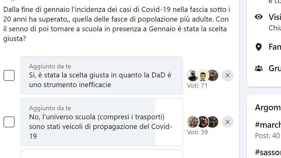 Sondaggio Scuola e Covid-19