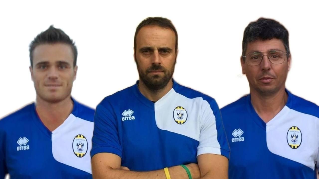 Tre allenatori dell'Ostra Calcio scrivono alla sottosegretaria allo sport Valentina Vezzali. Da sinistra: Daniele Api, Stefano Curzi e Simone Cesaretti