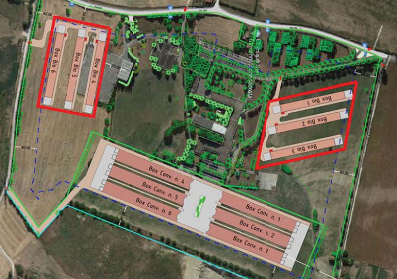 L'ipotesi di progetto per l'allevamento del gruppo Fileni a San Lorenzo in Campo