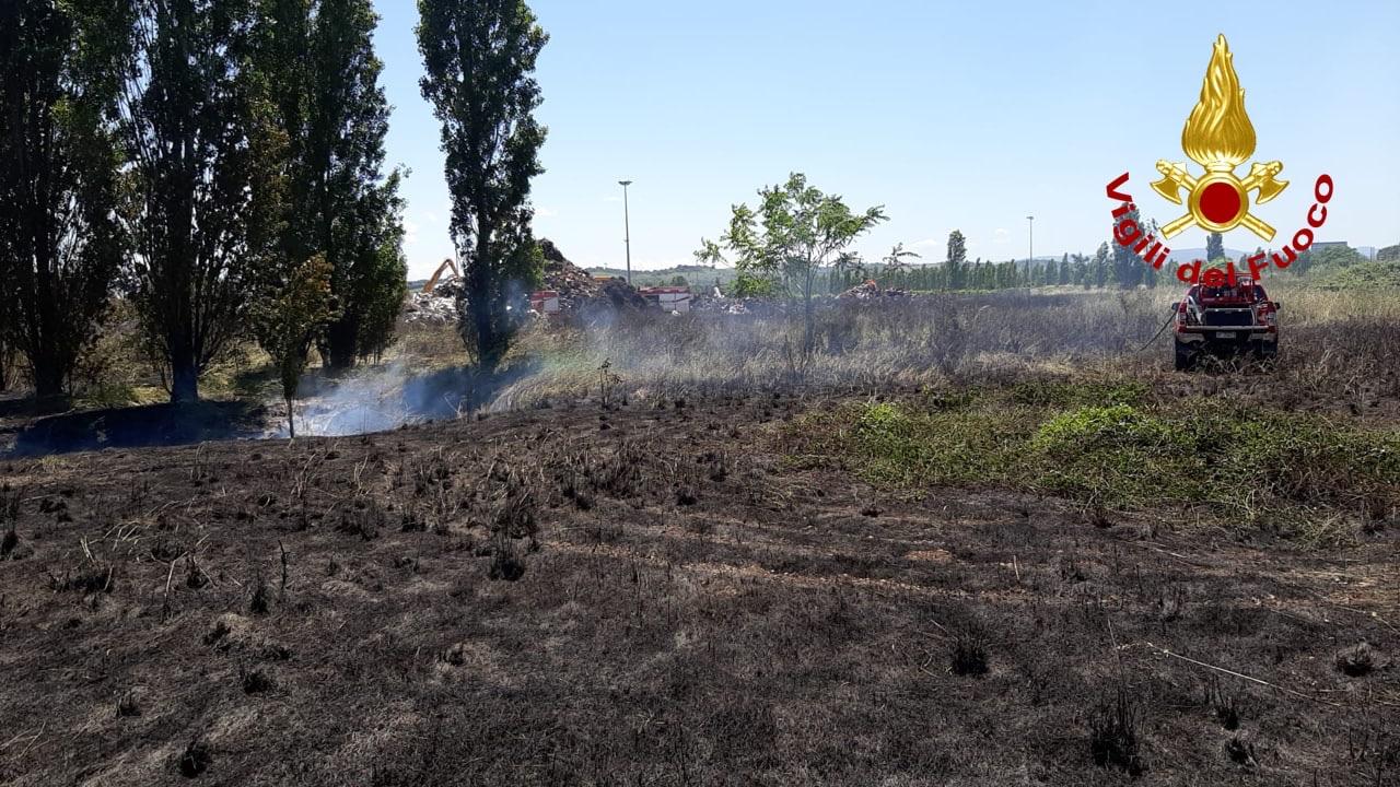 Incendio sterpaglie alla Coppetella di Jesi