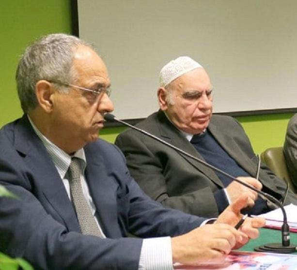 In primo piano il rettore Adornato insieme all'imam