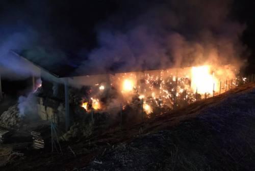 Pollenza, incendio nella notte in un capannone. Bruciati 5mila quintali di fieno