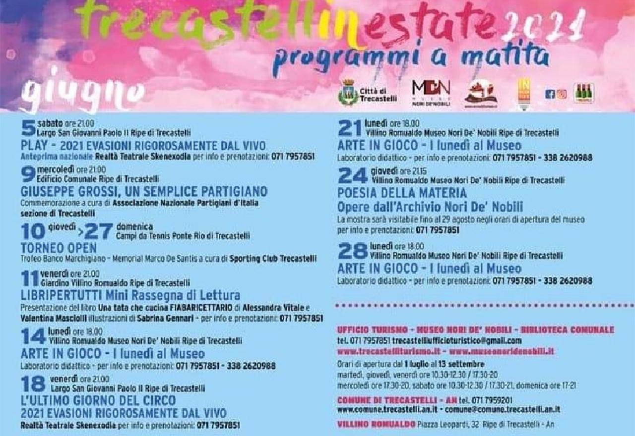 Il cartellone della stagione degli eventi estivi (giugno 2021) a Trecastelli