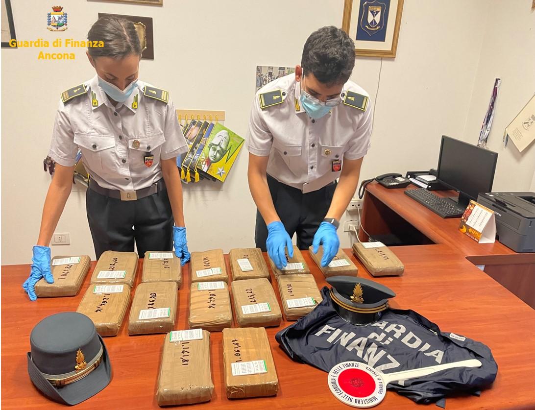 La droga sequestrata dai finanzieri al casello autostradale di Senigallia
