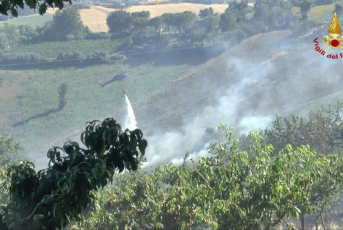 Ancona, grosso incendio a Gallignano: parte anche l'elicottero per spegnerlo